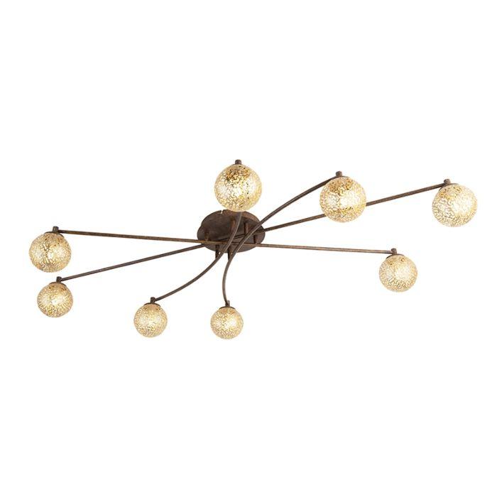 Landelijke-plafondlamp-8-lichts-in-roestbruin---Kreta