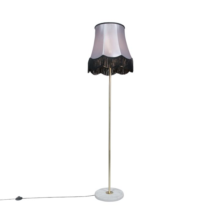 Vloerlamp-messing-met-Granny-B-kap-zwart-grijs-45-cm---Kaso