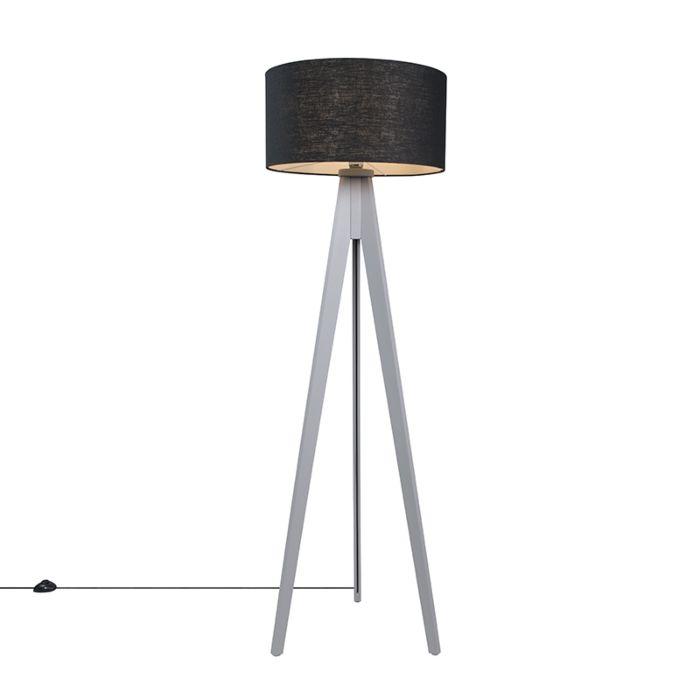 Vloerlamp-Tripod-Classic-grijs-met-kap-50cm-zwart