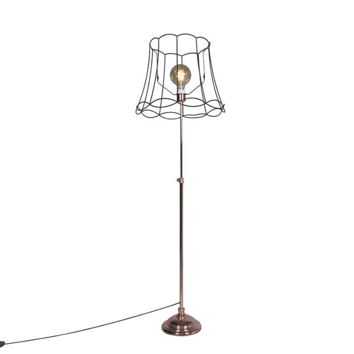 Vloerlamp-Accia-koper-met-kap-Granny-frame-50cm-zwart