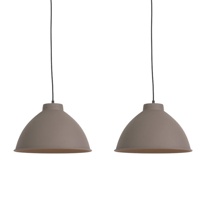 Set-van-2-hanglampen-Anterio-38-Basic-bruin