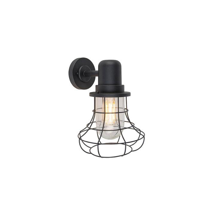 Landelijke-buitenwandlamp-zwart-IP44---Moreno
