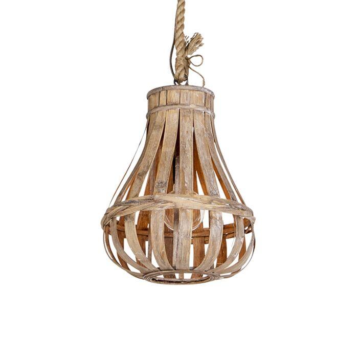 Landelijke-hanglamp-hout-met-touw-34cm---Excalibur