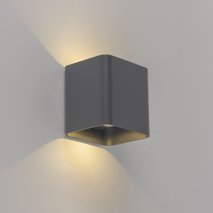Moderne-wandlamp-antraciet-incl.-LED-IP54-vierkant---Evi
