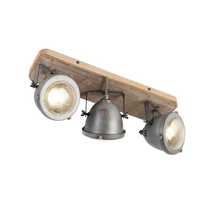 Industriële-spot-staal-met-hout-kantelbaar-3-lichts---Emado