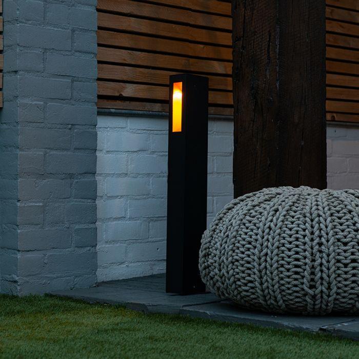 Moderne-staande-buitenlamp-zwart-65cm-incl.-LED---Intorus