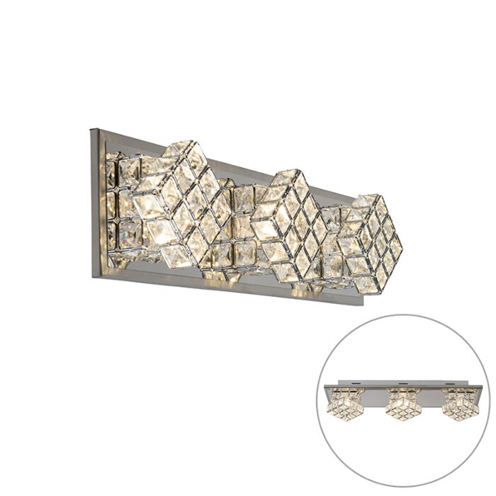 Design-wandlamp-chroom-3-lichts-incl.-LED---Waffle