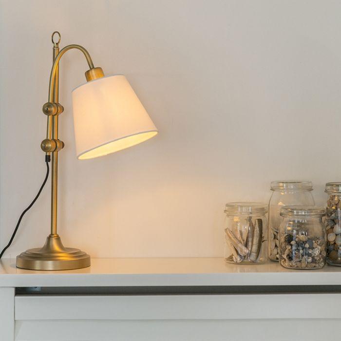 Klassieke-tafellamp-brons-met-witte-kap---Ashley