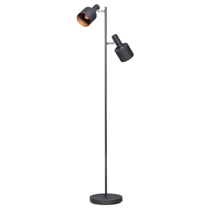 Moderne-vloerlamp-zwart-met-2-spots---Conter