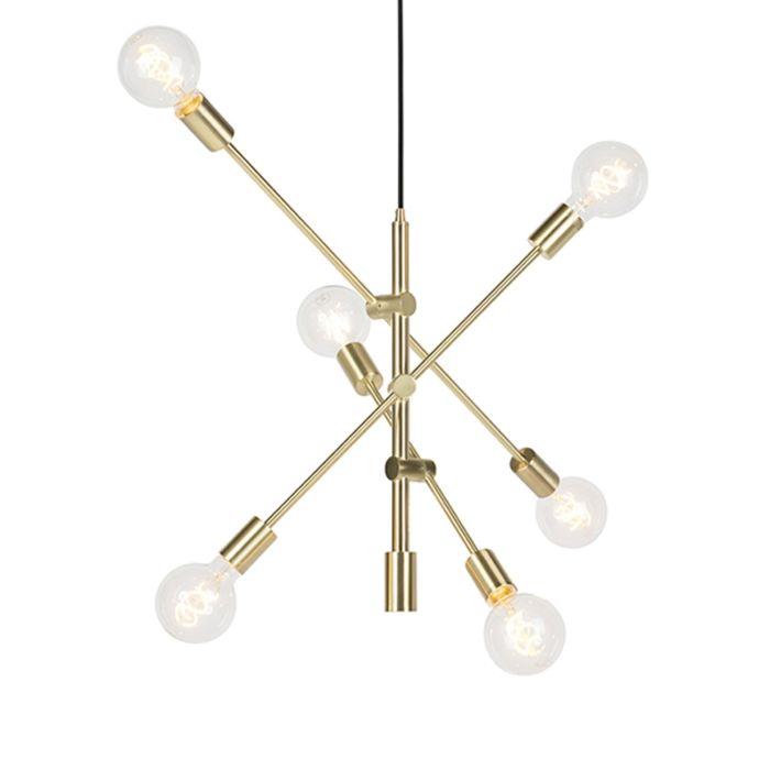 Art-deco-hanglamp-mat-messing-6-lichts---Sydney