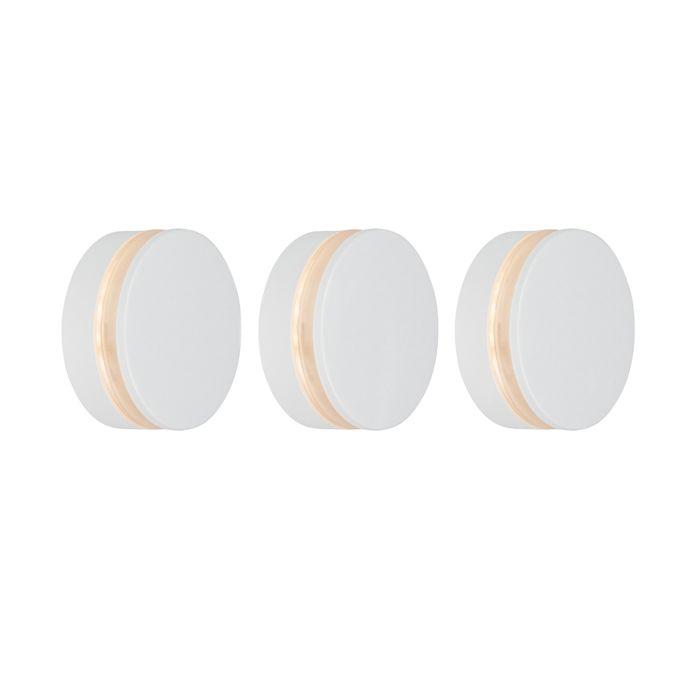 Set-van-3-wandlampen-wit-incl.-LED-IP44---Theo-Round