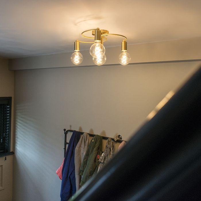 Art-deco-plafondlamp-messing-4-lichts---Facil