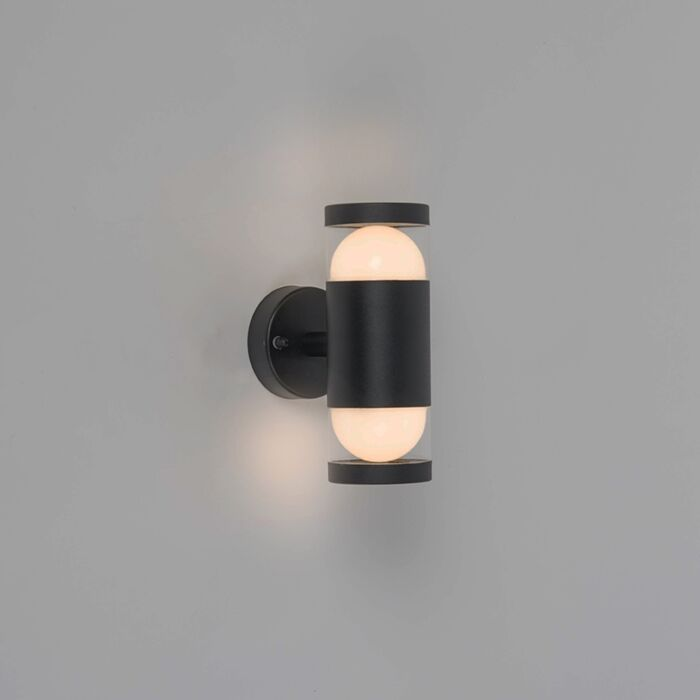 Moderne-ronde-buitenwandlamp-zwart-incl.-LED-met-2-lichtpunten---Prim
