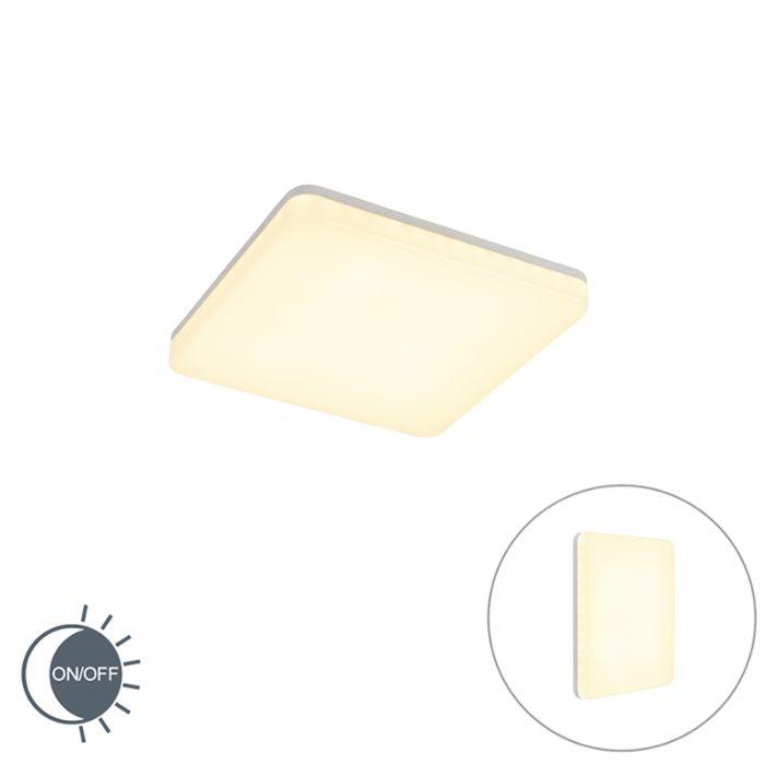 Moderne-vierkante-plafondlamp-wit-incl.-LED-met-licht-sensor---Plater