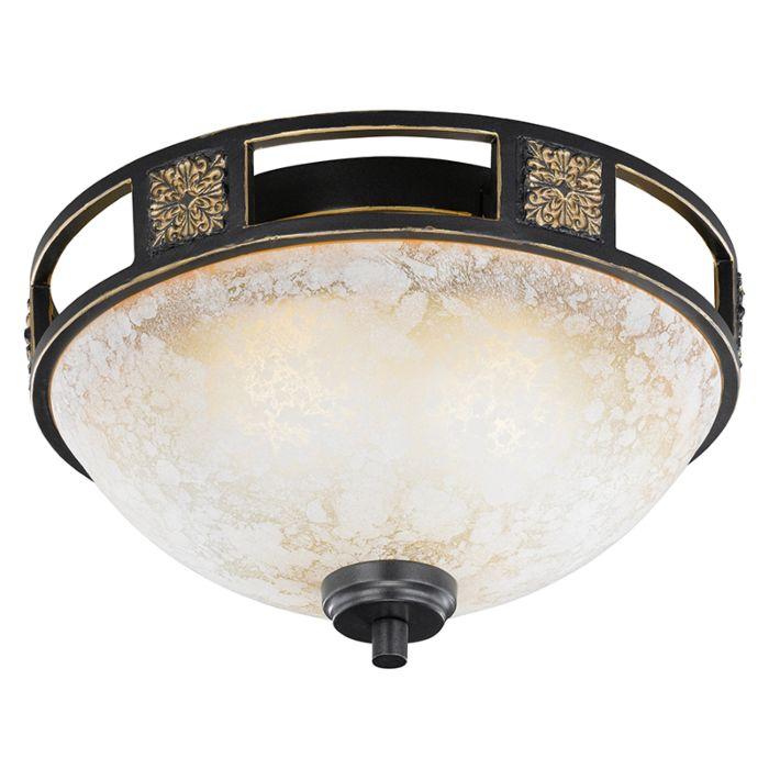 Landelijke-ronde-plafondlamp-roestkleur-33cm---Quinta