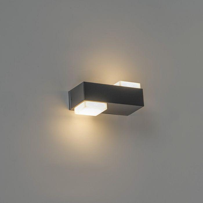 Moderne-rechthoekige-buitenwandlamp-zwart-incl.-LED-met-2-lichtpunten---Prim