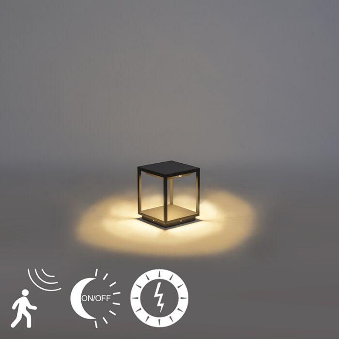 Moderne-buitenlamp-donkergrijs-solar-schemer/beweging---Volendam