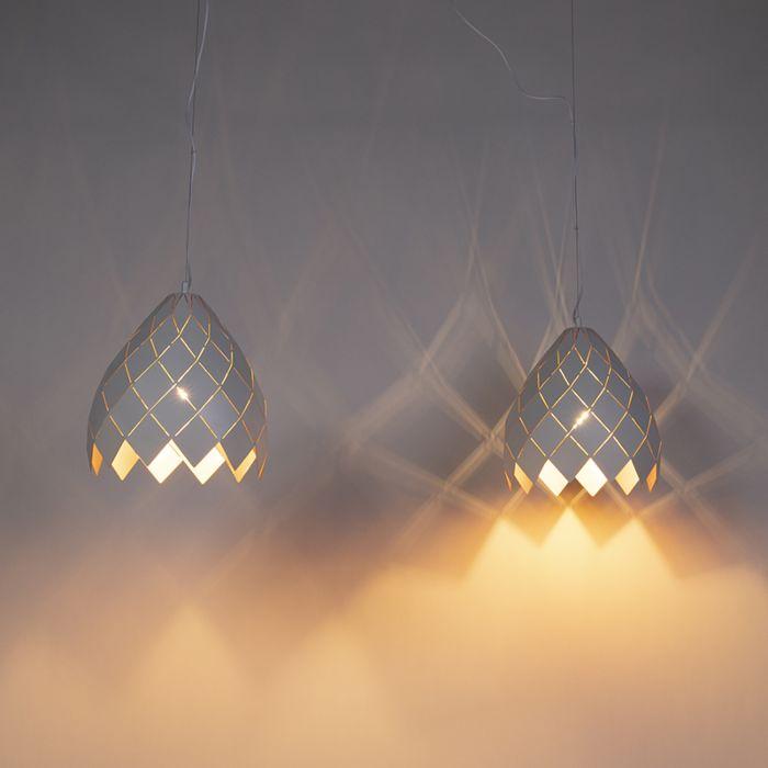 Art-Deco-hanglamp-wit-met-gouden-binnenkant-2-lichts---Citrine