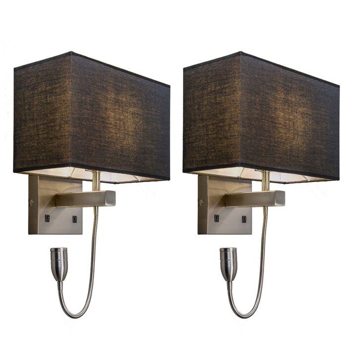 Set-van-2-wandlampen-staal-met-kap,-leesarm-incl.-LED---Bergamo