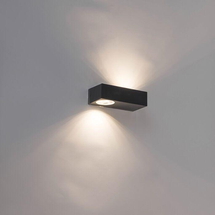 Moderne-langwerpige-buitenwandlamp-zwart-incl.-LED---Jens