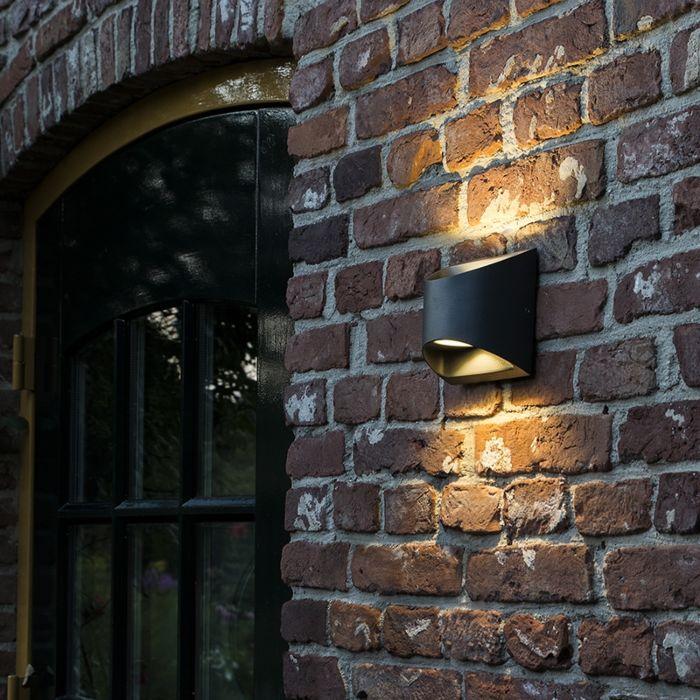 Moderne-buitenwandlamp-donkergrijs-incl.-LED-IP54---Mal