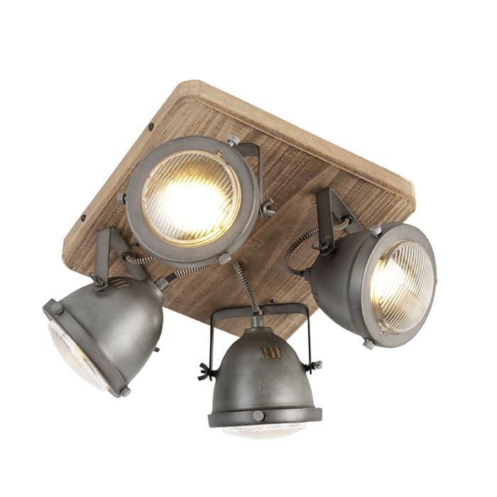 Industriële-spot-staal-met-hout-kantelbaar-4-lichts---Emado