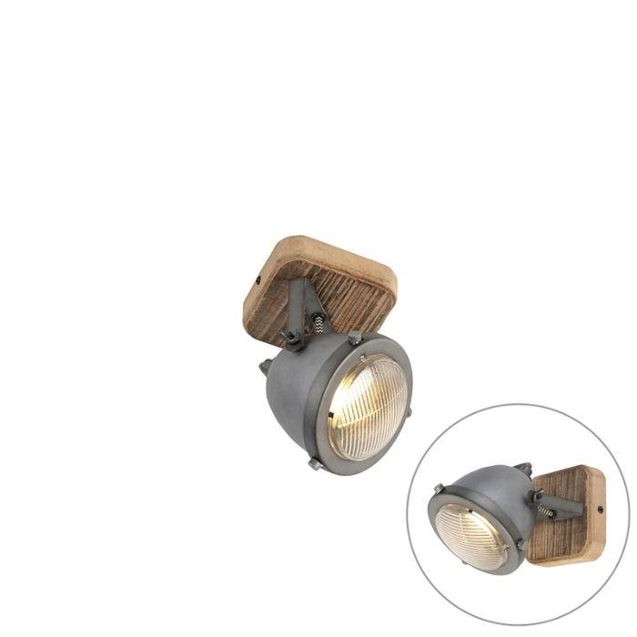 Industriële-spot-staal-met-hout-kantelbaar---Emado