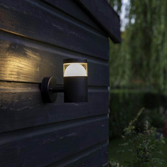 Moderne-ronde-buitenwandlamp-zwart-incl.-LED---Prim