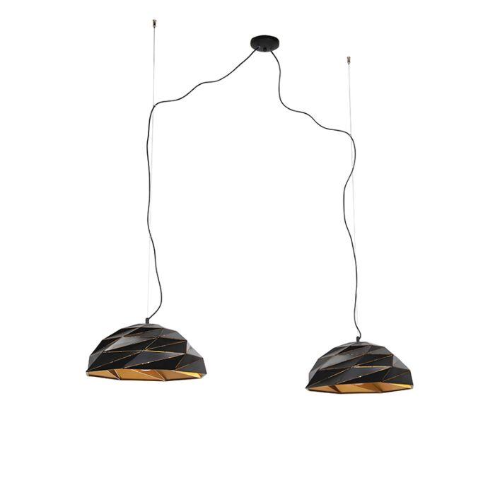 Art-Deco-hanglamp-zwart-met-gouden-binnenkant-2-lichts---Lazuli