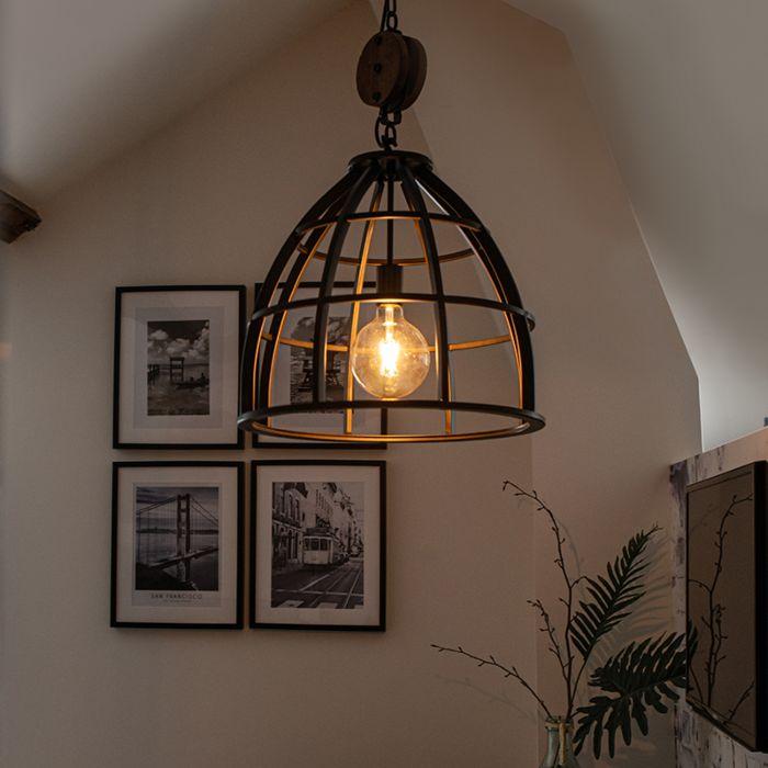 Industriële-ronde-hanglamp-zwart-staal-48-cm---Arthur