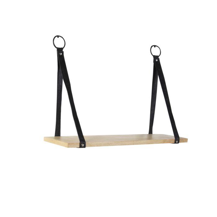 Industrieel-wandrek-met-1-houten-plank-en-zwarte-lederen-riemen---Swing