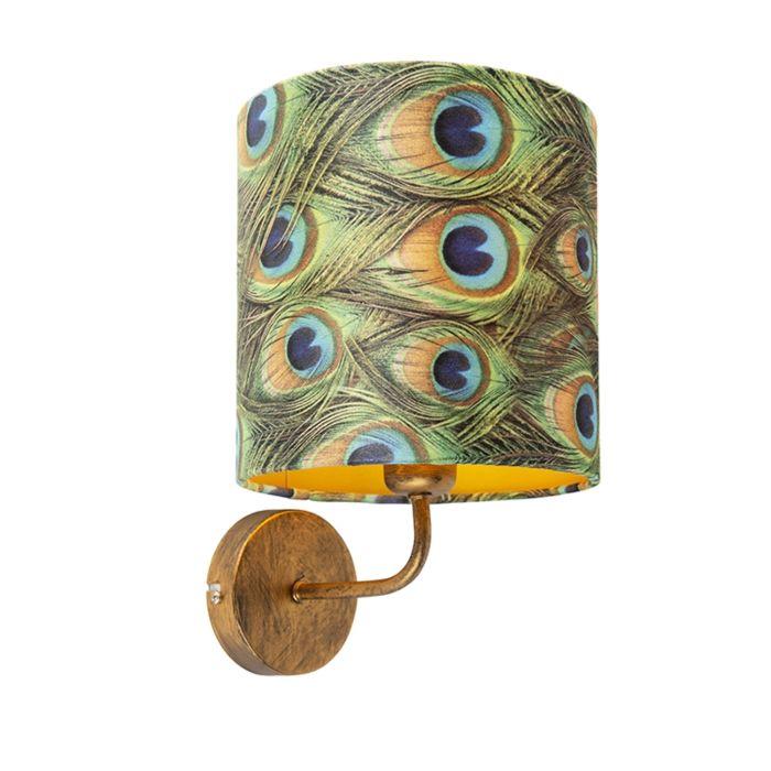 Vintage-wandlamp-goud-met-kap-velours-20/20/20-pauw---goud