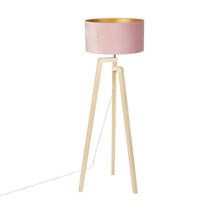 Vloerlamp-tripod-hout-met-roze-velours-kap-50-cm---Puros