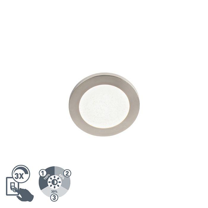 Moderne-ronde-plafondlamp-17cm-staal-IP44-3-staps-dimbaar---Steve