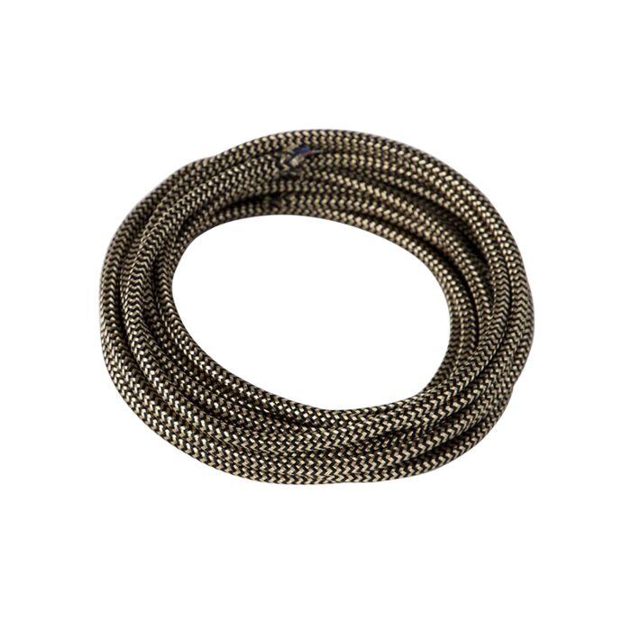 Stoffen-kabel-gevlochten-1-meter-zwart-goud
