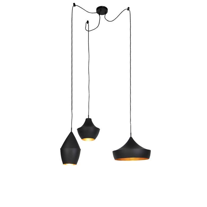 Set-van-3-Scandinavische-hanglampen-zwart-met-goud---Depeche