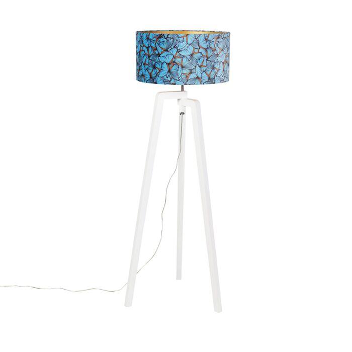 Vloerlamp-tripod-hout-met-vlinders-velours-kap-50-cm---Puros