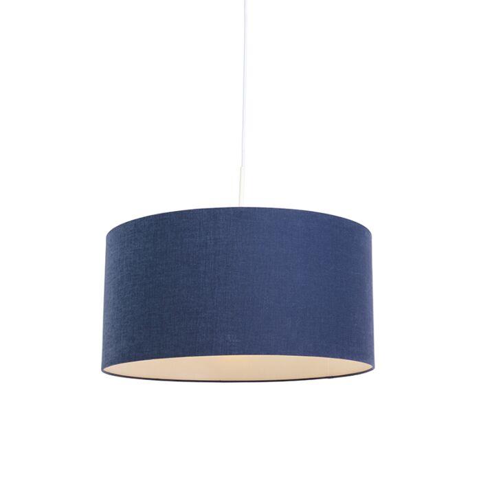 Moderne-hanglamp-wit-met-antiek-blauwe-kap-50-cm---Combi-1