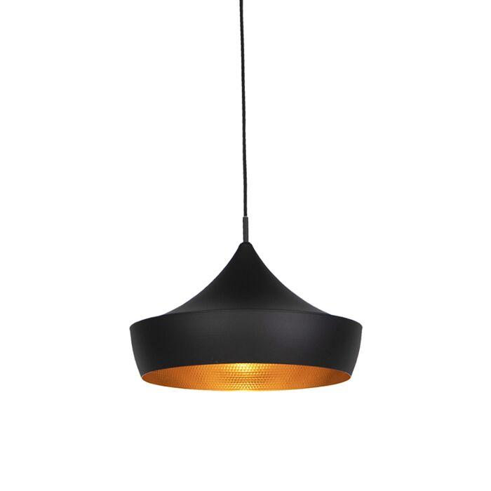 Moderne-hanglamp-zwart-met-gouden-binnenkant---Depeche-Paul