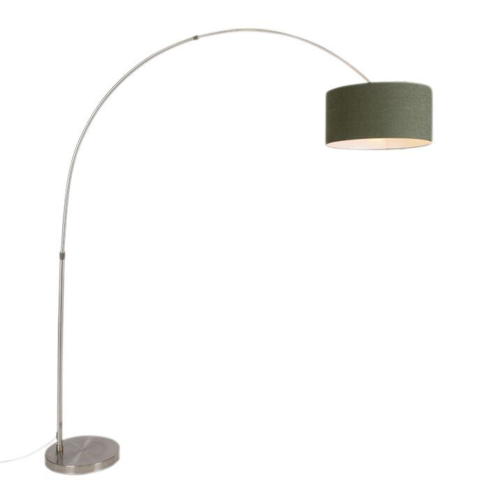 Moderne-booglamp-staal-met-kap-50/50/25-mos-groen