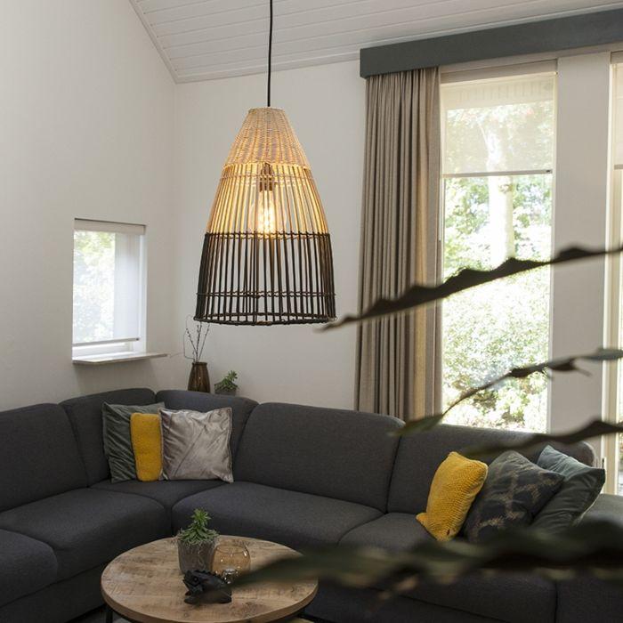 Landelijke-hanglamp-bamboe-met-zwart---Bamboo