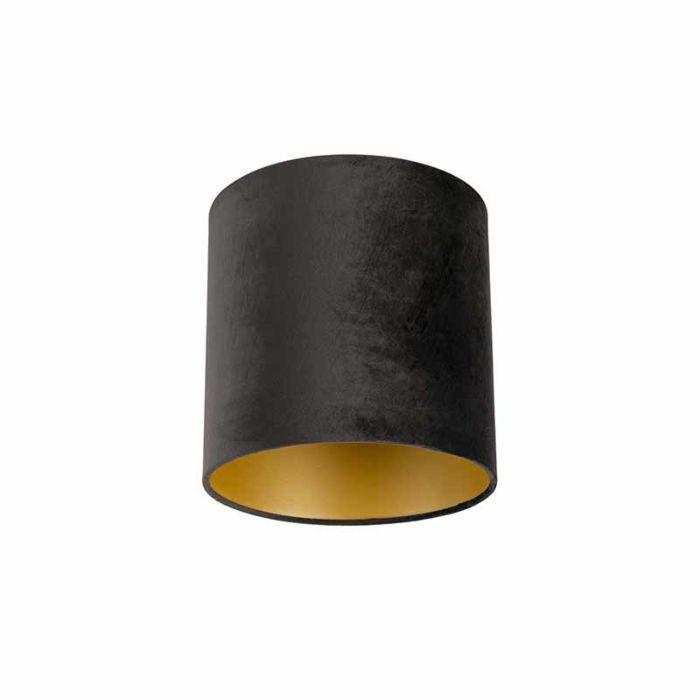 Lampenkap-velours-25/25/25-zwart---goud
