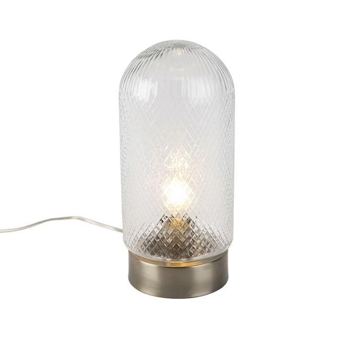 Vintage-tafellamp-cilindervormig-bewerkt-glas-met-staal---Bardo