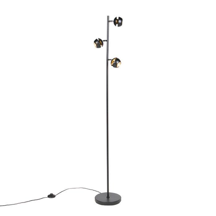 Moderne-vloerlamp-3-lichts-zwart-met-gouden-binnenkant---Buell-Deluxe