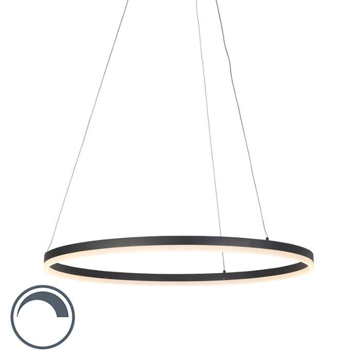 Moderne-ring-hanglamp-zwart-80-cm-incl.-LED-en-dimmer---Anello