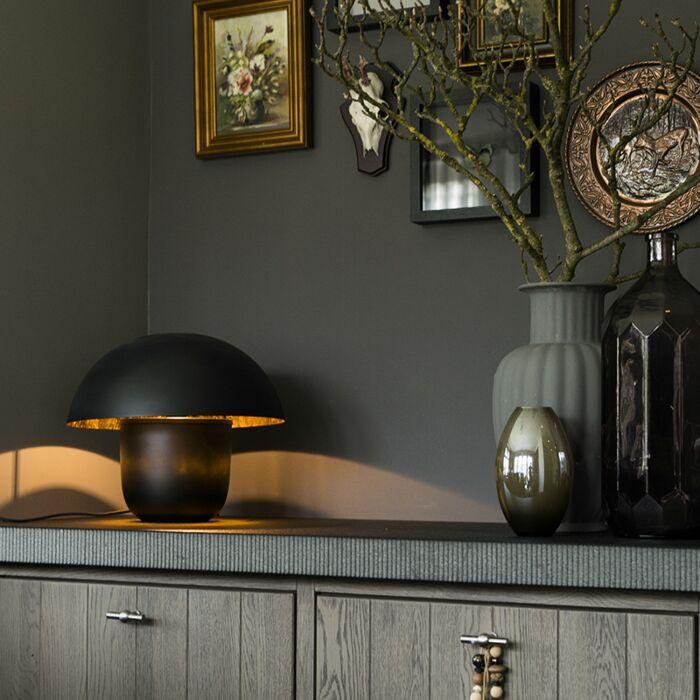 Moderne-tafellamp-zwart-met-gouden-binnenkant-40cm---Canta