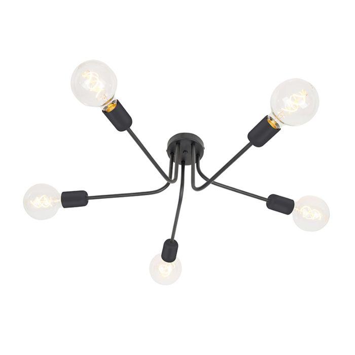 Moderne-plafondlamp-zwart-5-lichts---Facile