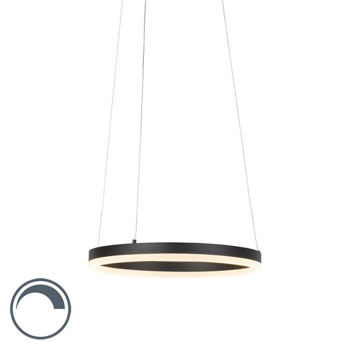Moderne-ring-hanglamp-zwart-40-cm-incl.-LED-en-dimmer---Anello
