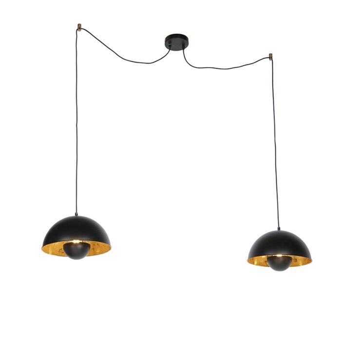 Industriële-hanglampen-zwart-met-goud-2-lichts---Magna-Eglip