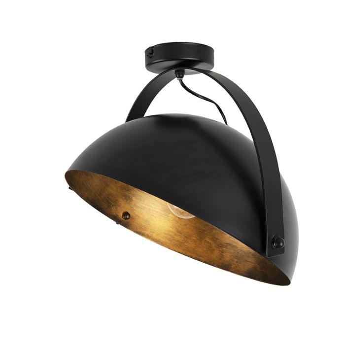 Industriële-plafondlamp-zwart-met-goud-kantelbaar---Magna